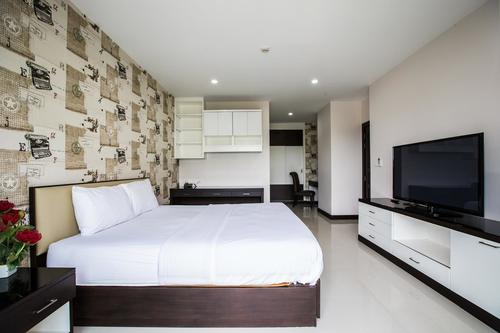 Comfortable living and bedroom in a style 3 apartment