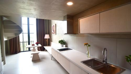 Stylish kitchen with stove, hood and sink