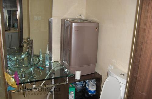 Bathroom with towels, washing machine, and big glass sink