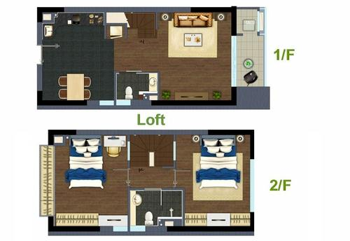 Floorplan of Apartment with balcony at Obo Shanghai