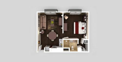 One Room One Bed apartment floorplan
