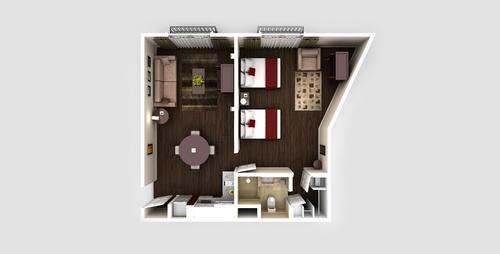 One Room Two Beds apartment floorplan