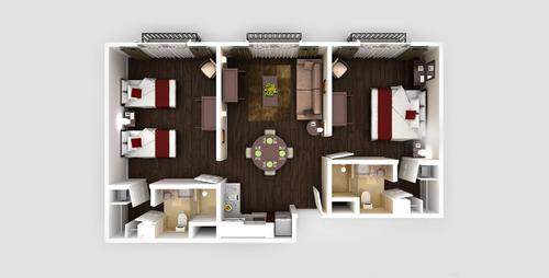 Two Rooms Three Beds apartment floorplan