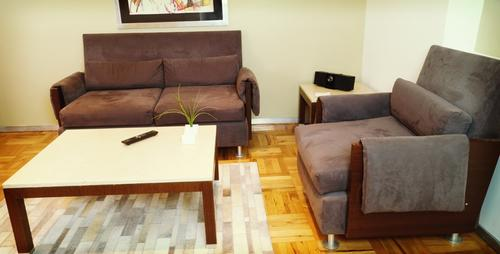 Comfortable sofa, chair and coffee table with plant