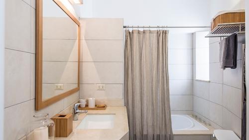Bathroom with a hot tub