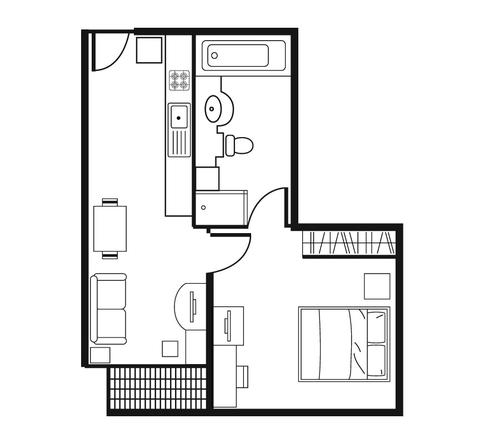 Floor plan for Shama Lakeview Asoke One Bedroom Deluxe Apartment