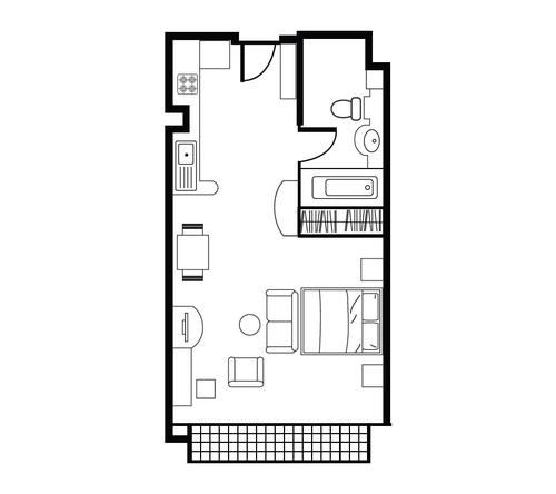 Floor plan for Shama Lakeview Asoke Studio Deluxe Apartment
