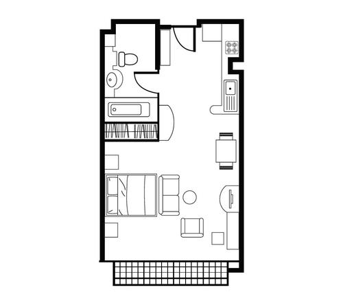 Floor plan for Shama Lakeview Asoke Studio Superior Apartment