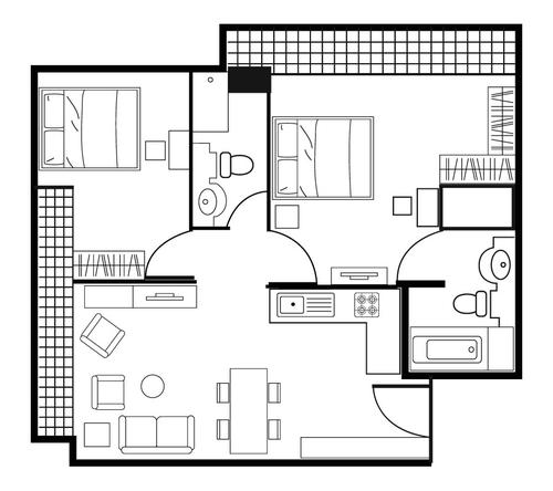 Floor plan for Shama Lakeview Asoke Two Bedroom Deluxe Apartment