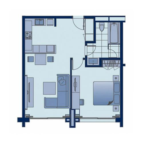 Floor plan of the one bedroom apartment