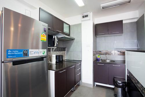 Kitchen area with modern appliances