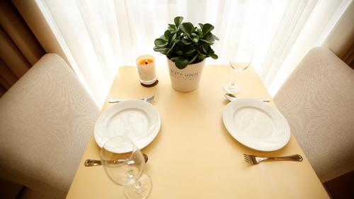 Dining table for two by the window