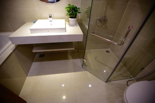 Large bathroom with a bathtub