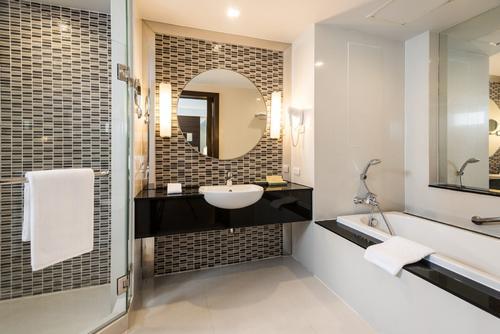 Stunning bathroom with a hot tub