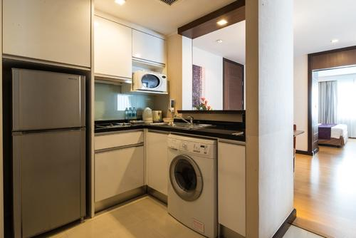 Fully equipped open kitchen with modern appliances