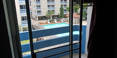 Private balcony with a view of the swimming pool