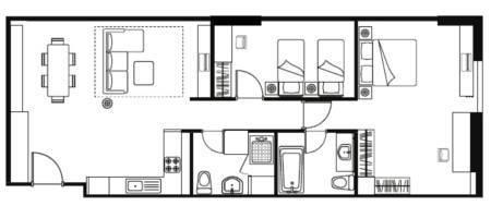 Floor plan for Two Bedroom Executive